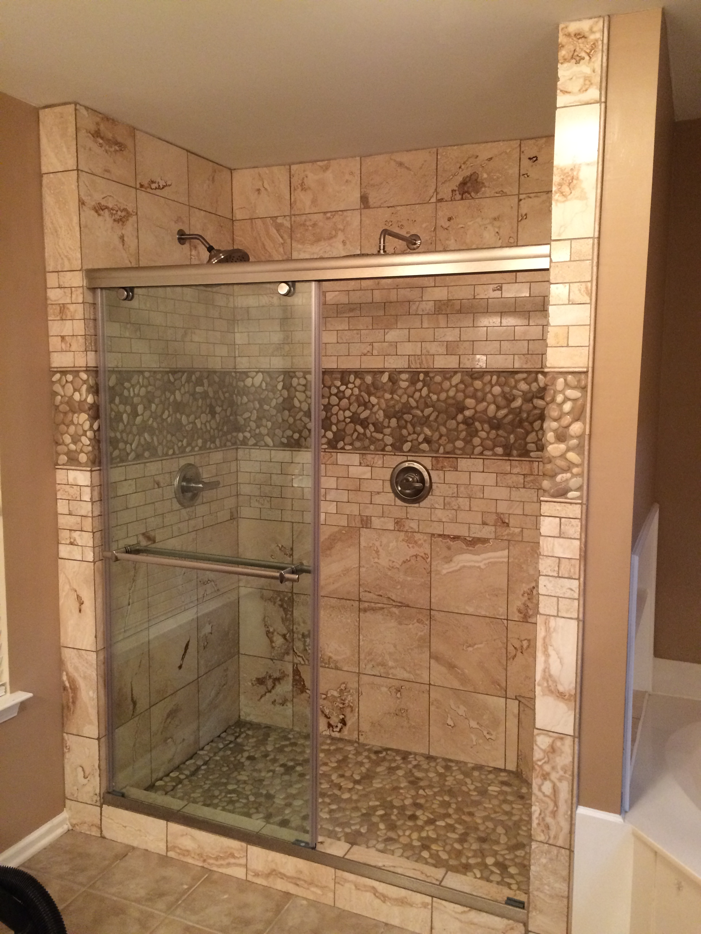 Glazed-Java-Tan-&-White-Pebble-Tile-Shower-Floor-&-Walls