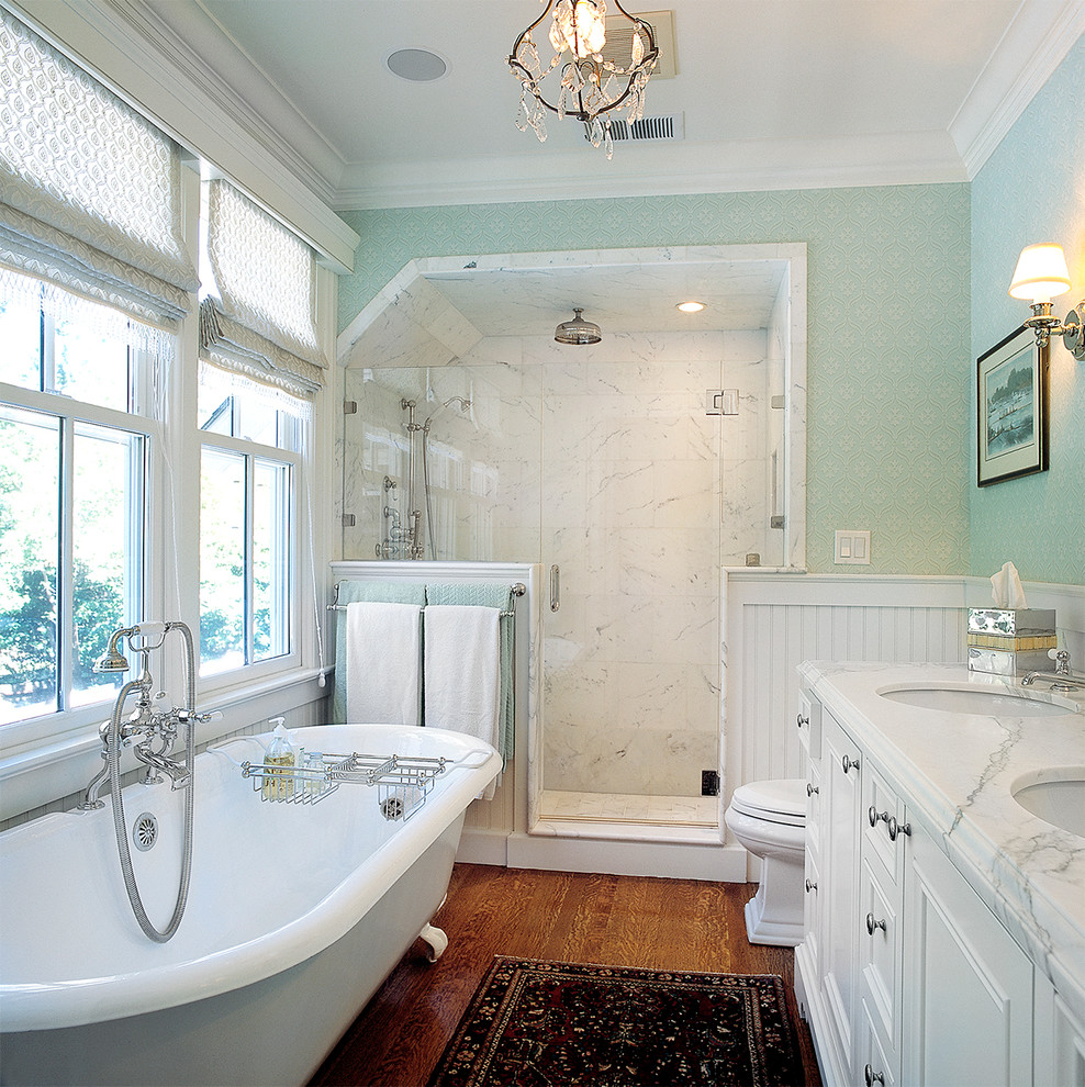 Pretty-Kohler-Coralais-Towel-Bar-vogue-San-Francisco-Traditional-Bathroom-Decorating-ideas-with-bathtub-caddy-blue-tub-ceiling-mount-shower-chandelier-claw-foot-crown-molding-double-vanity