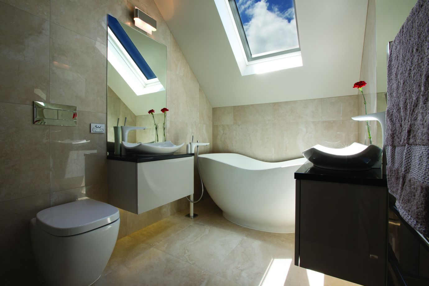 Travertino Bone Bathroom porcelain floor and wall tiles