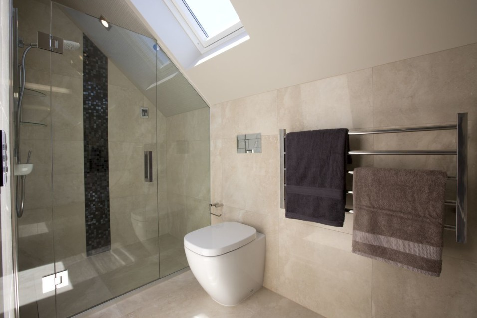 Travertino Bone Bathroom porcelain tiles with Bisazza shower feature