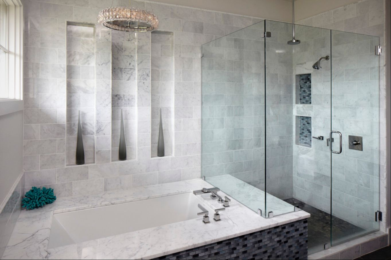 Blue and white bathroom floor tiles -  Antique Marble Bathroom Tile With Bianco Carrara Marble