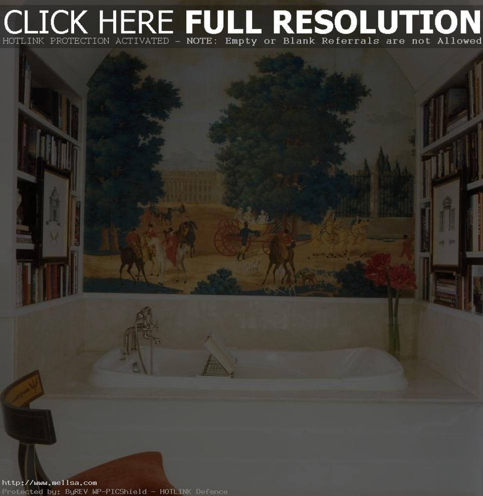 awesome-wall-murals-decorating-ideas-for-bathroom-traditional-design-ideas-with-arched-ceiling-ideas