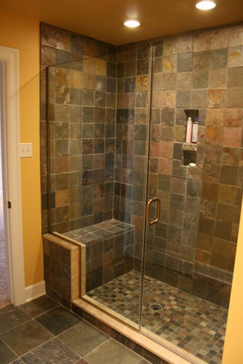 30 pictures of slate tile in bathroom shower for Slate tile bathroom ideas