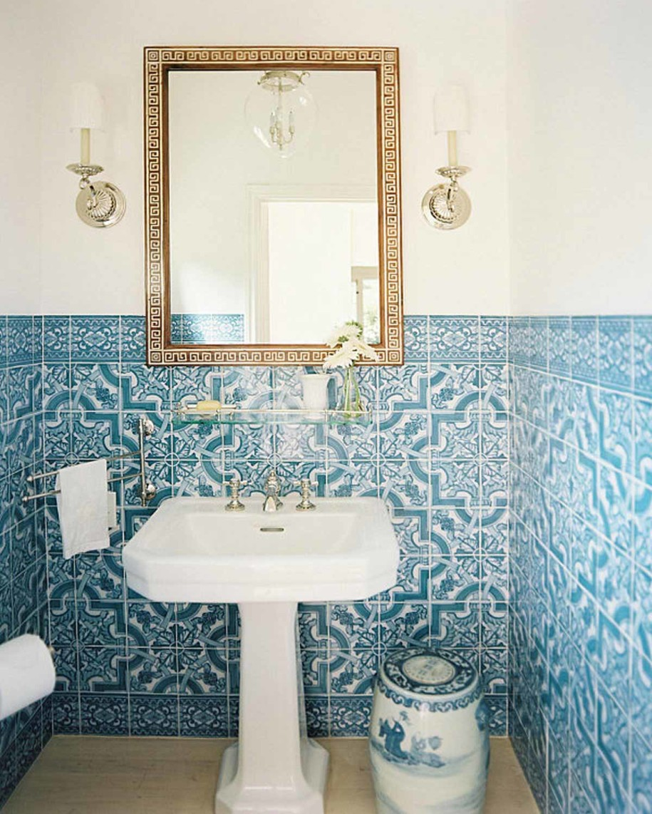 bathroom-alluring-modern-stylish-white-and-blue-unique-pattern-ceramic-tiles-wall-bathroom-design-with-white-pedestal-sink-and-square-frame-mirror-also-stainless-twel-hanger-and-twin-wall-mount-