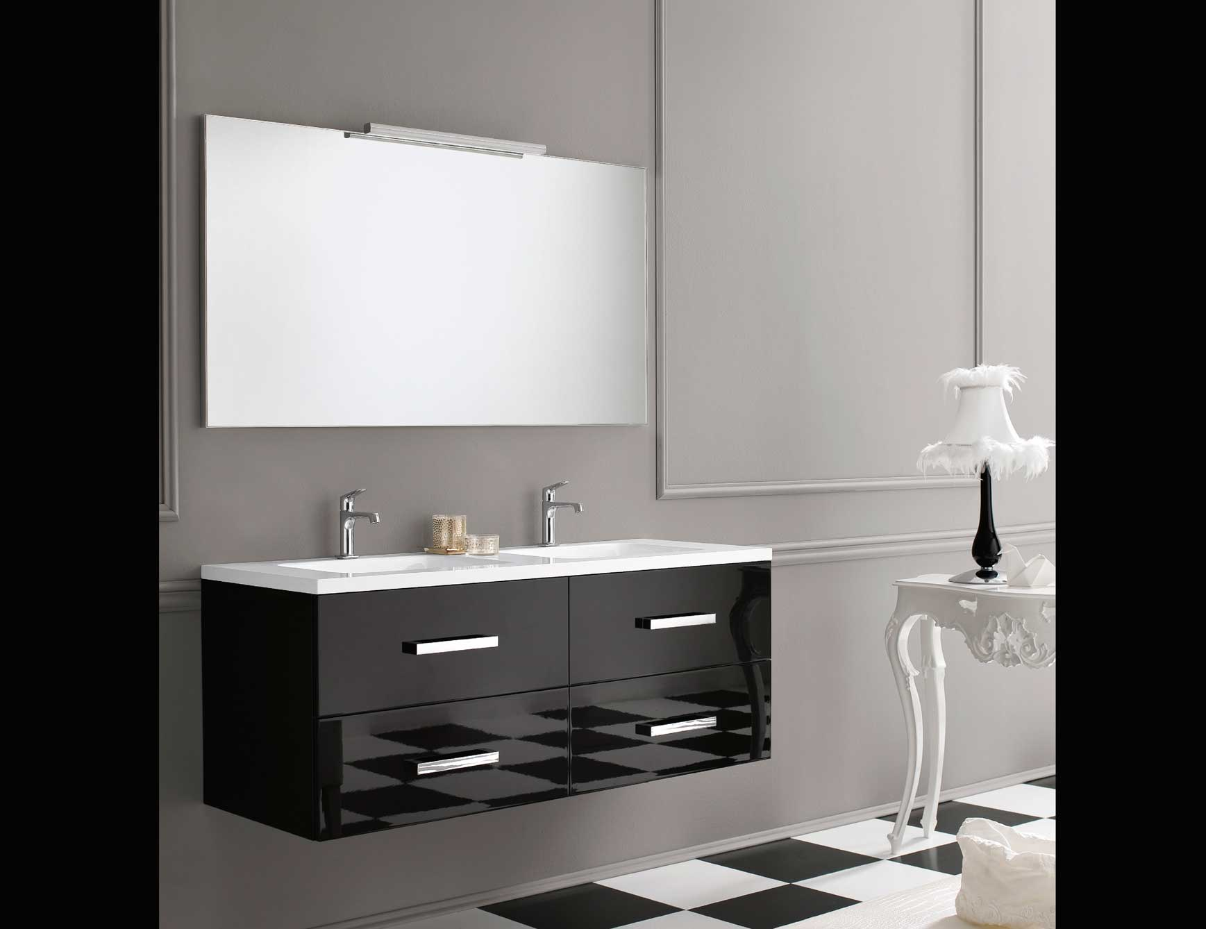 bathroom-cool-bon-ton-black-lacquered-wood-floating-double-sink-cabinet-with-drawer-under-rectangular-mirror-design-with-small-white-table-lamp-also-checkerboard-tile-floor-as-a-modern