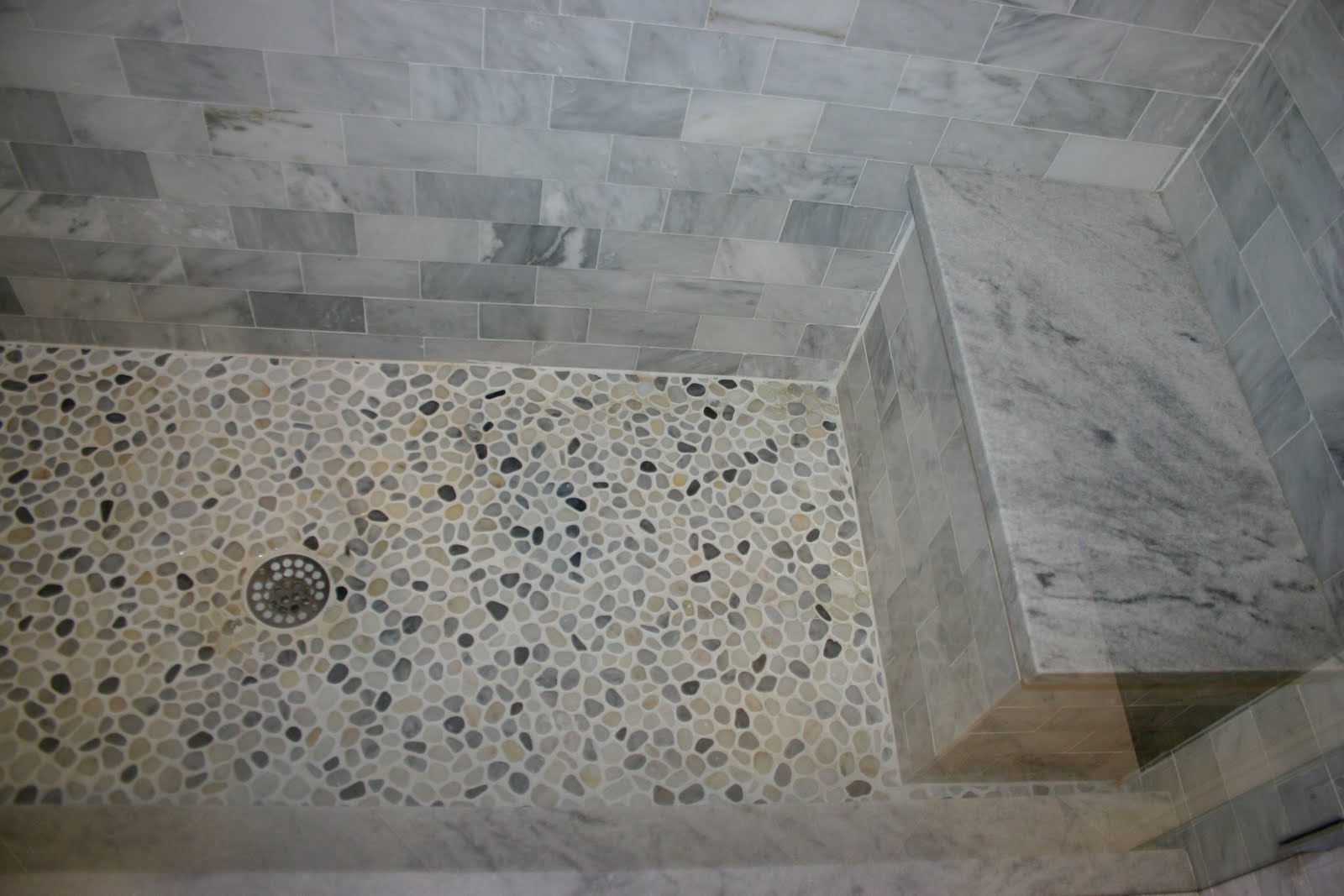 White Pebble Tile Bathroom Floor Including White Marble Tile Shower