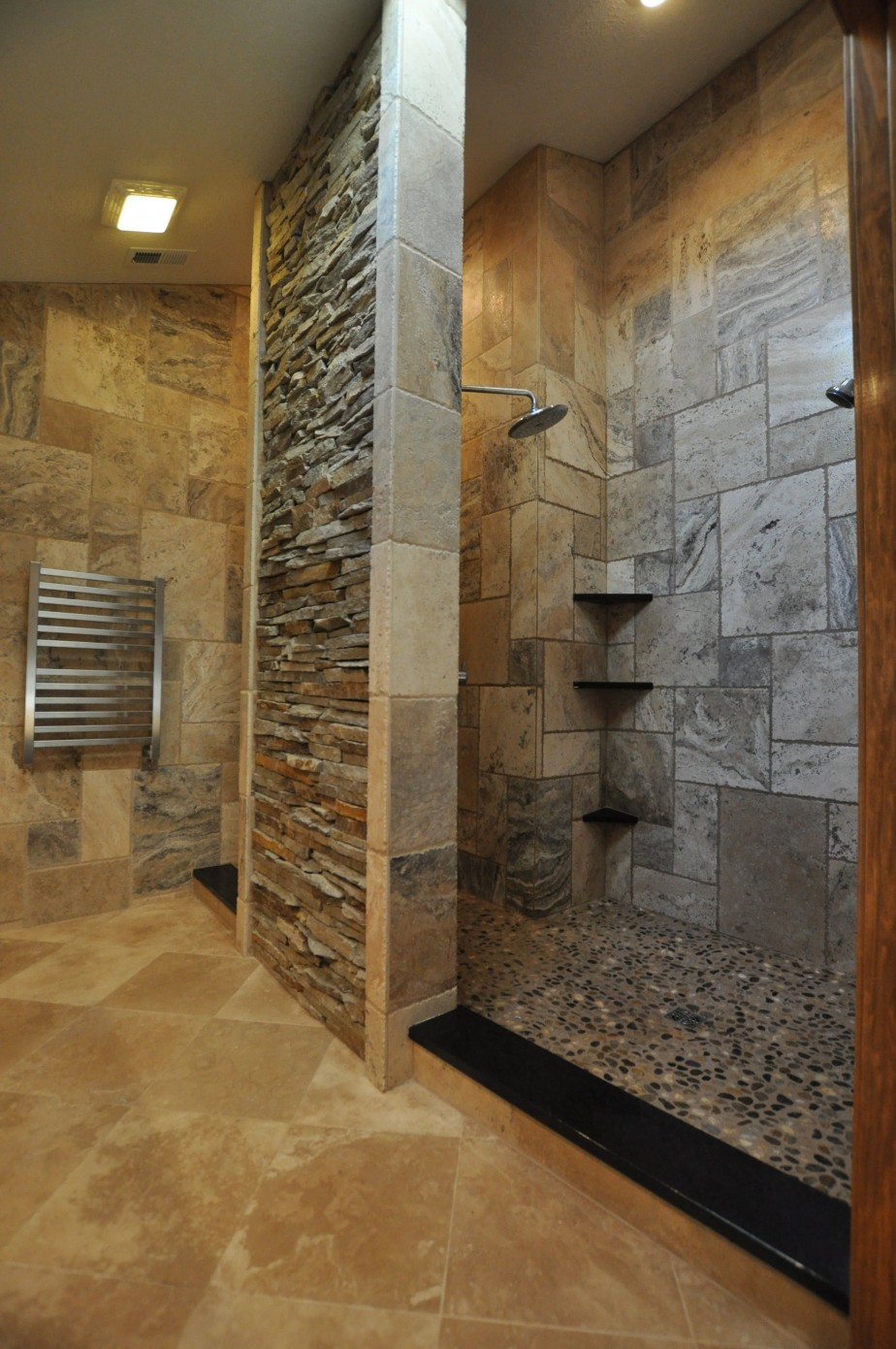 Bathroom Engaging Decoration Using Grey Stone