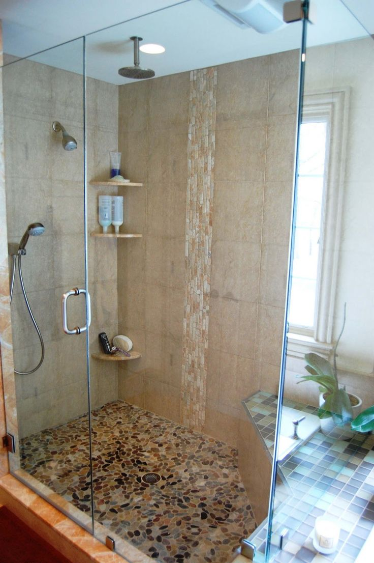 bathroom-entrancing-small-bathroom-design-using-cream-glass-tile-bathroom-wall-along-with-mounted-ceiling-round-steel-shower-heads-and-cream-pebble-tile-bathroom-floor-divine-bathroom-decoration-usin
