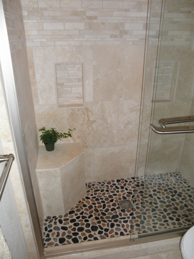 26 nice pictures and ideas of pebble bath tiles for Tile shower floor ideas