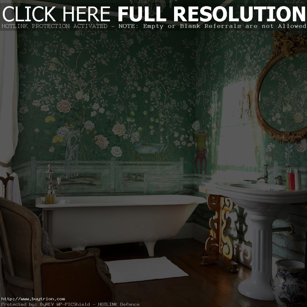 brilliant-bathroom-decoration-with-green-chinese-wallpaper-murals-along-with-white-free-standing-bathtub-idea