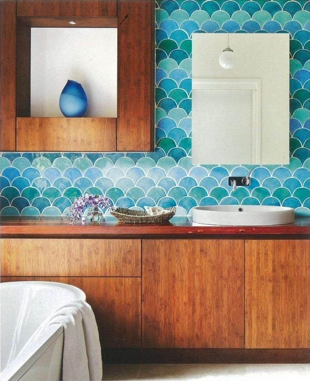 Wonderful Ideas And Pictures Ceramic Tile Murals For Bathroom - Eclectic bathroom designs