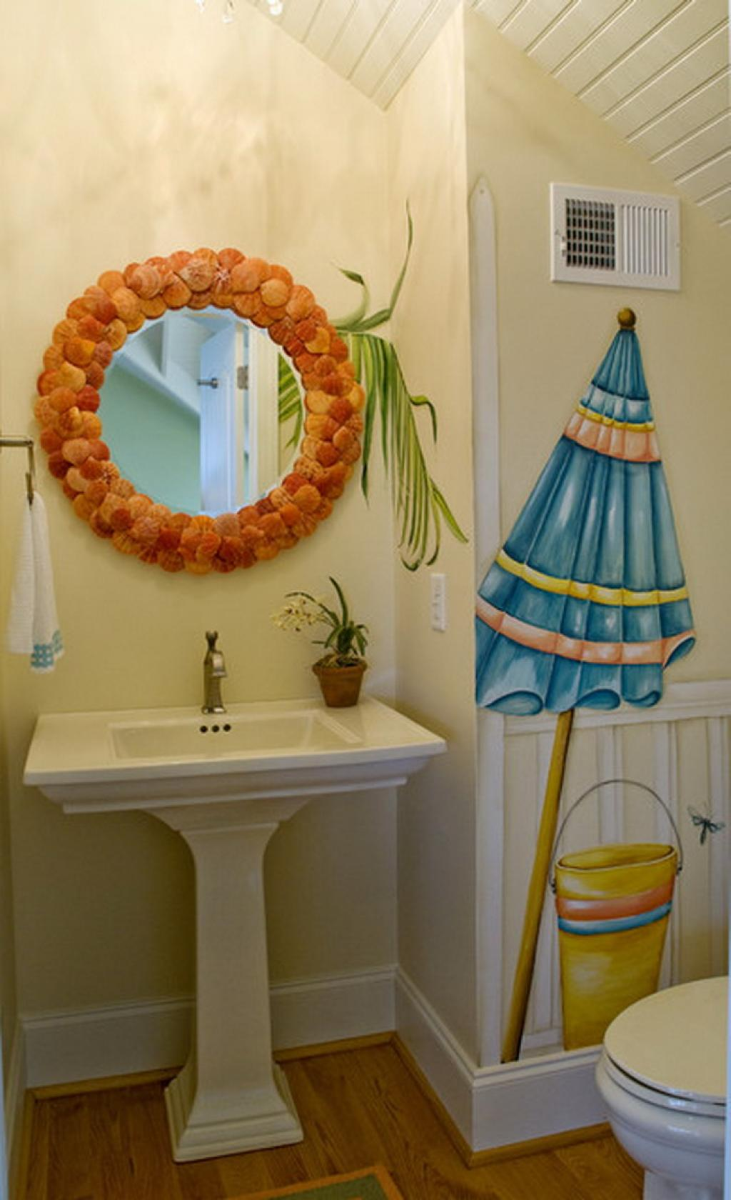eclectic-bathroom-ideas-6-classic-umbrella-murals-in-small-eclectic-bathroom
