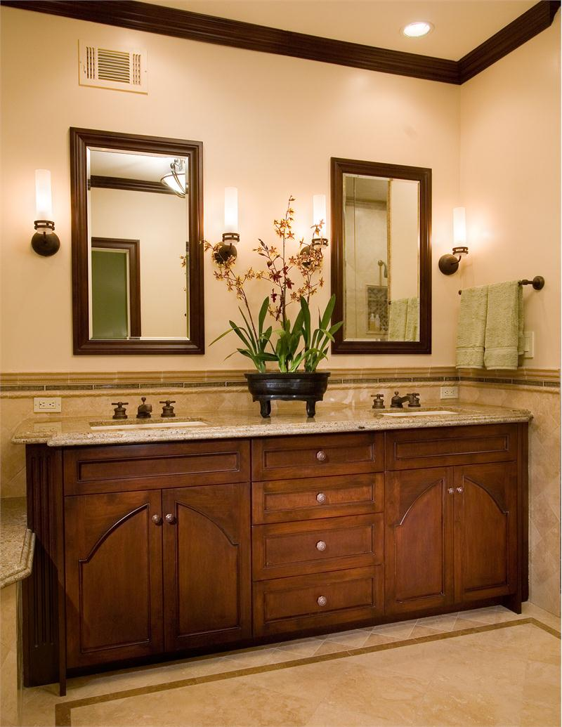 elegant-traditional-bathroom-vanity-unit-offer-beauty-arch-door-cabinets-in-natural-wooden-materials-and-solid-marble-countertop-with-double-rectangle-undermount-sink-decorate-two-fancy-wall-lamp-and