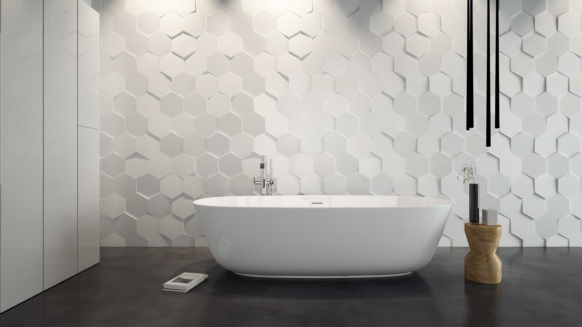27 wonderful pictures and ideas of italian bathroom wall tiles for Carrelage mural blanc salle de bain