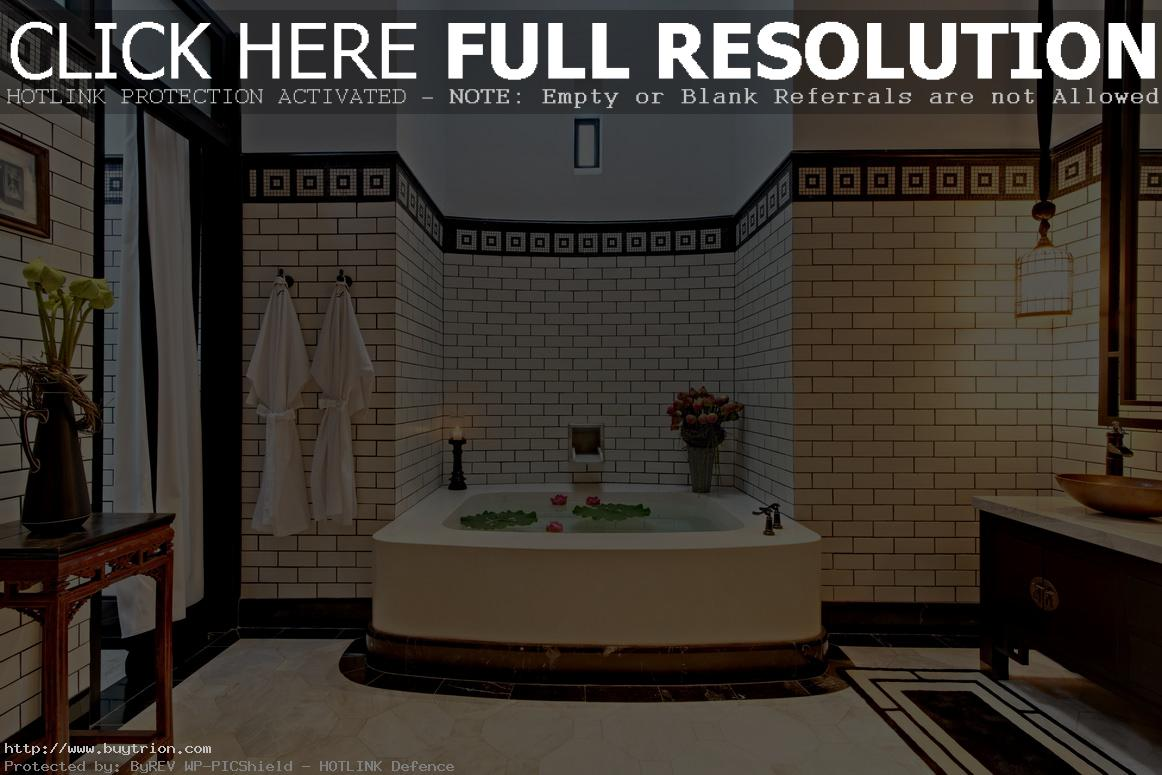 impressive-chinese-wallpaper-murals-in-bathroom-with-white-bathtub-and-pendant-lamp-idea