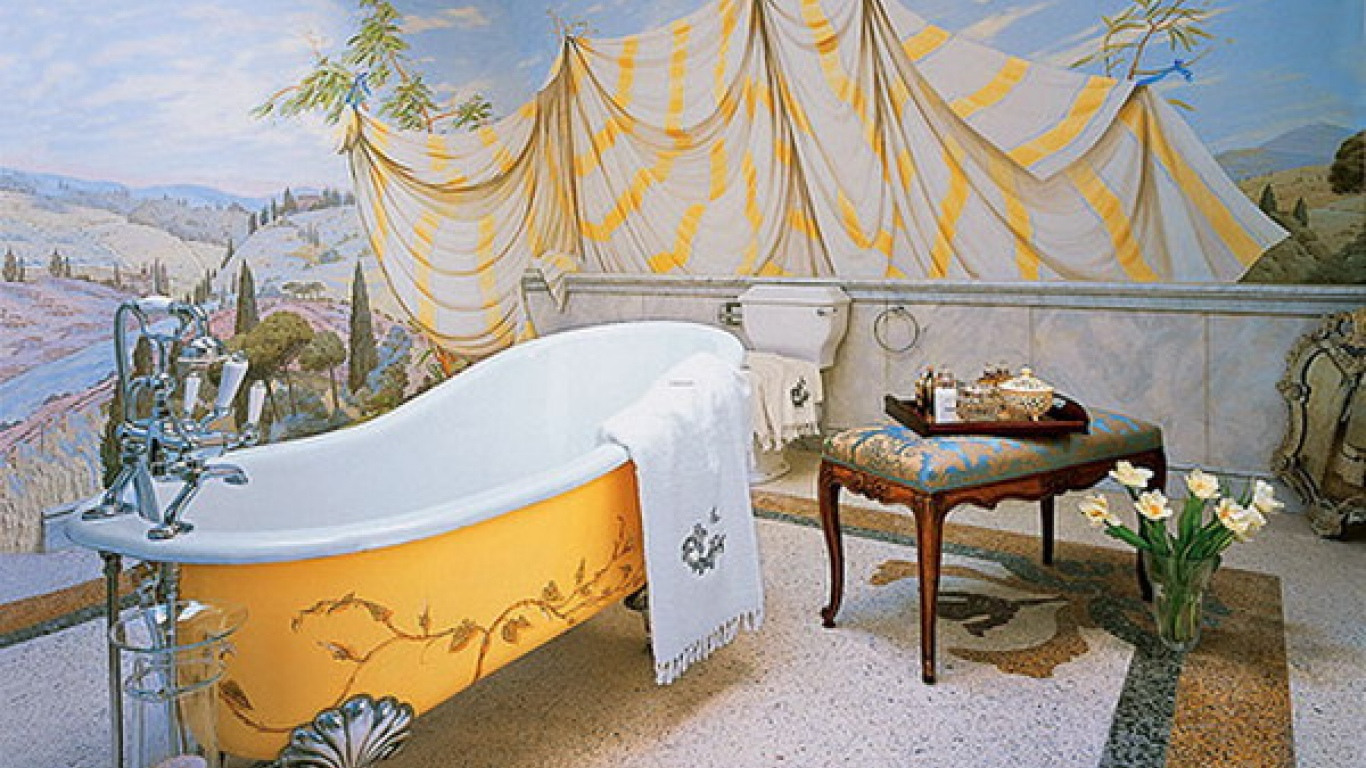 25 wonderful ideas and pictures ceramic tile murals for for Bathroom wall mural