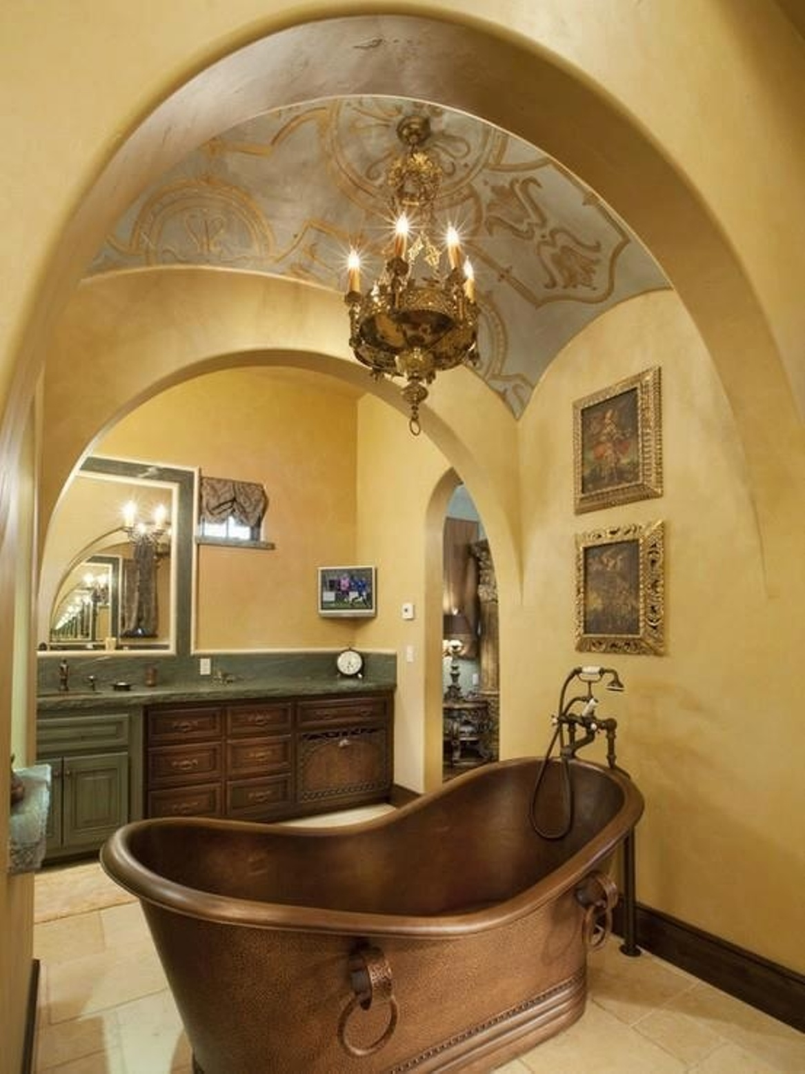 mediterranian-traditional-bathroom-designs-with-copper-bathtub-with-pedestal-sink-and-traditional-vanity