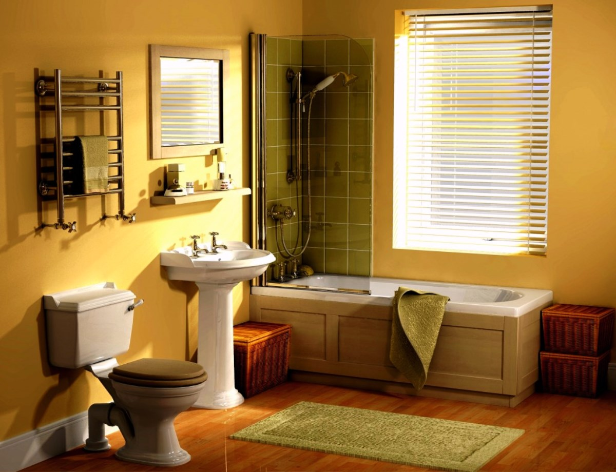 pretty-traditional-bathroom-ideas-with-molding-tub-style-and-yellow-wall-color-plus-green-toilet-seat