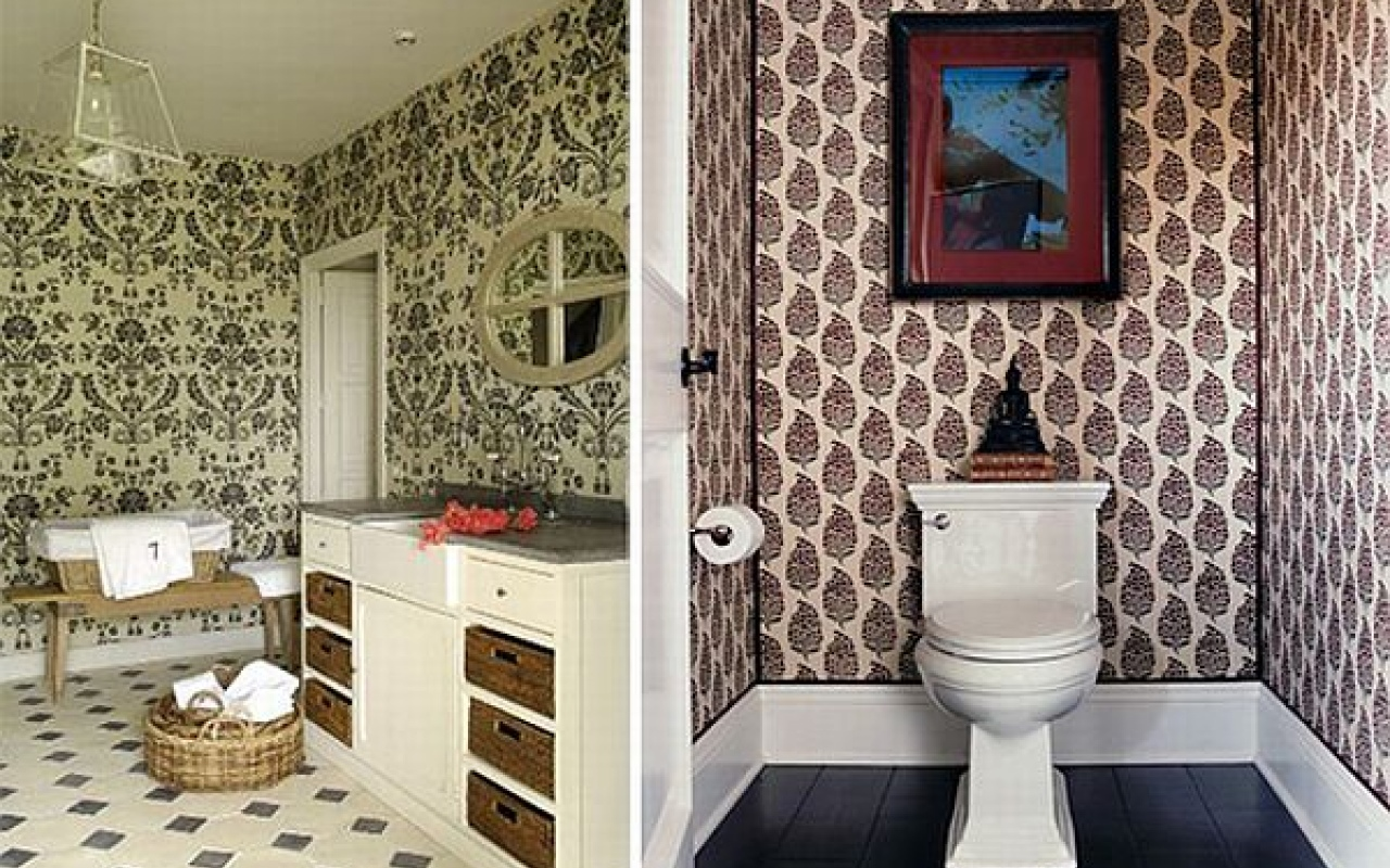 25 wonderful ideas and pictures ceramic tile murals for bathroom for Wallpaper trends for bathrooms