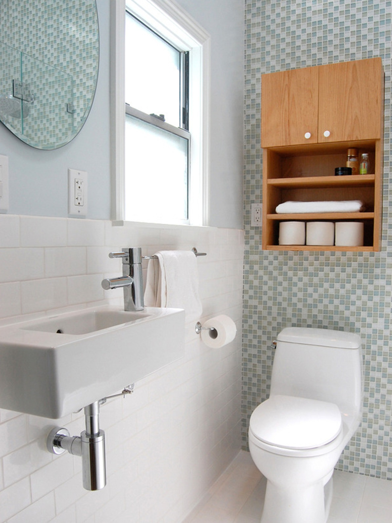 small-bathroom-design-ideas-with-traditional-mini-toilet-and-sink-with-bracket-and-subway-tiles-and-wallpaper-and-bathroom-storage-over-toilet
