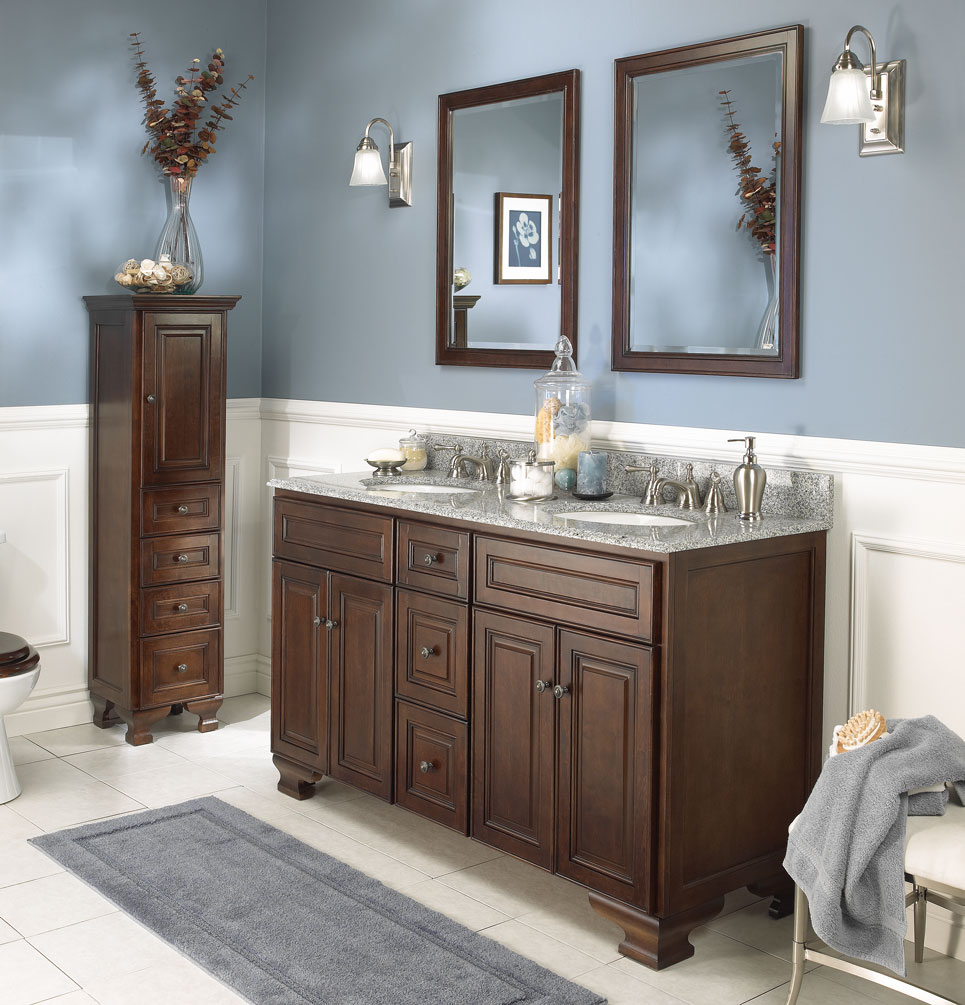 traditional-bathroom-ideas-with-rectangle-cube-teak-sink-cabinet-vanity-and-white-wooden-wainscoting