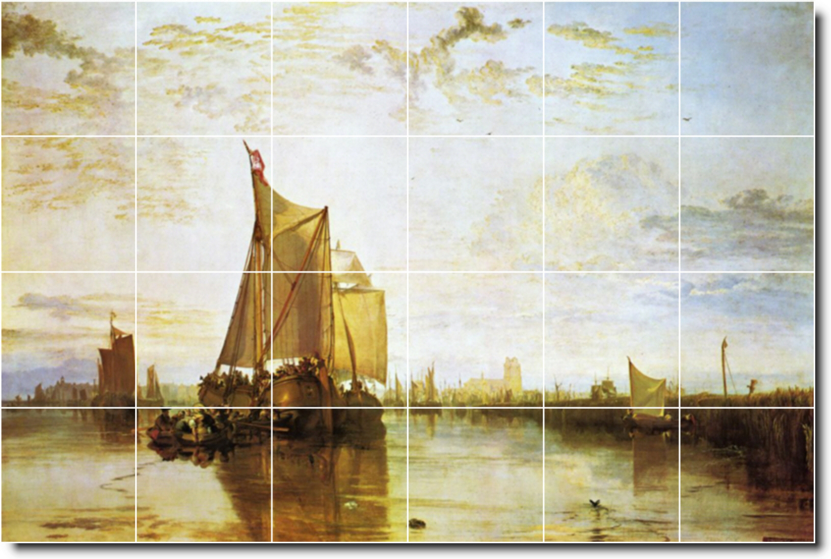 Dort The Dort Packet Boat From Rotterdam Bacalmed Tile Mural. Joseph Turner. Ships Painting Tile Mural. Our company produces custom backsplash tile murals