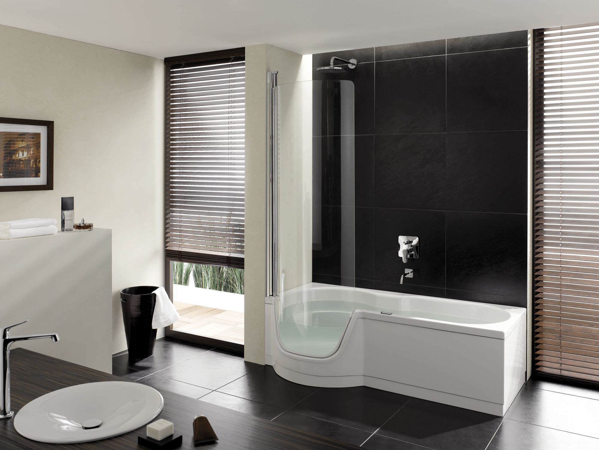 white-wall-paint-bathtub-stainless-steel-faucet-head-glasss-window-panel-dark-gray-ceramic-flooring-tile-small-real-wood-vanity-washbasin-the-latest-styles-and-designs-of-bathroom-showrooms
