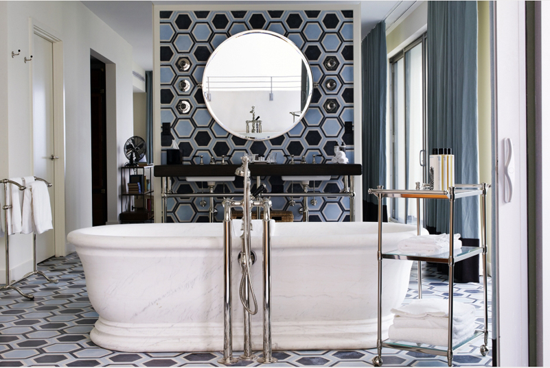 30 bathroom hex tile ideas. Black Bedroom Furniture Sets. Home Design Ideas