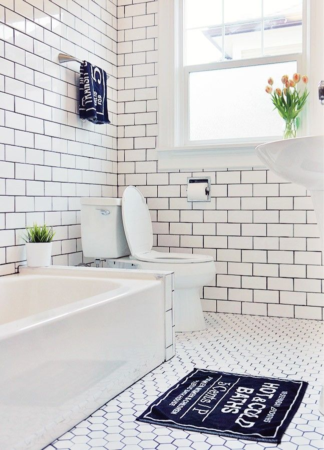 30 ideas for hexagon ceramic bathroom tile for White subway tile with black grout bathroom