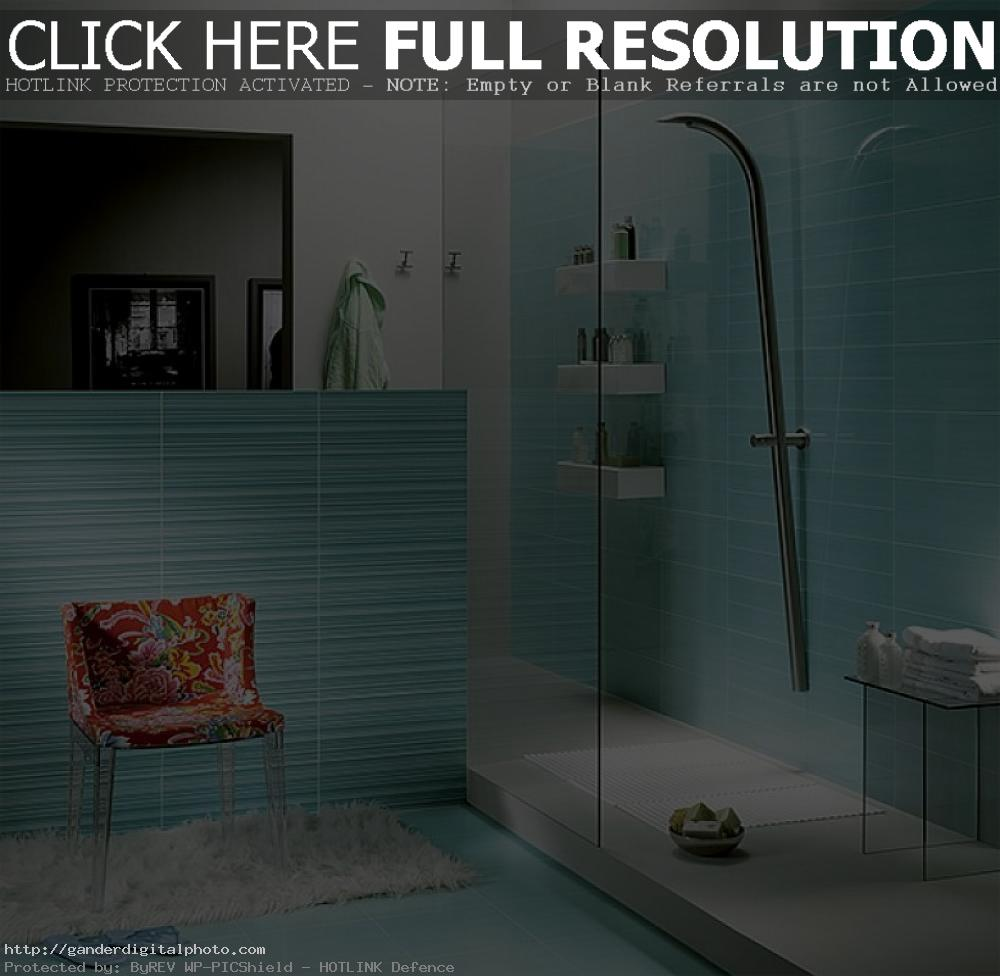 50-Cool-Blue-Bathroom-Design-To-Inspire-With-Tile-Shows-Red-Floral-Armchair-Aside-Doorless-Shower-Room-Design