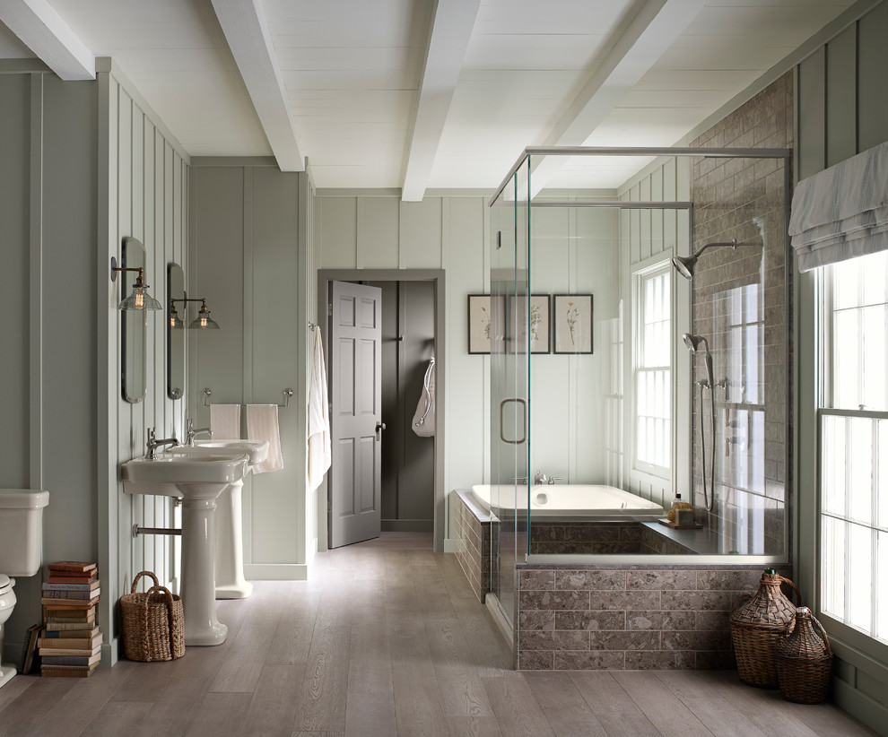 30 cool ideas and pictures of farmhouse bathroom tile on Farmhouse Bathroom Floor Tile  id=21798