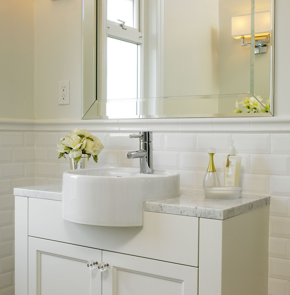 beveled subway tile design | 30 cool ideas and pictures of farmhouse bathroom tile 2019