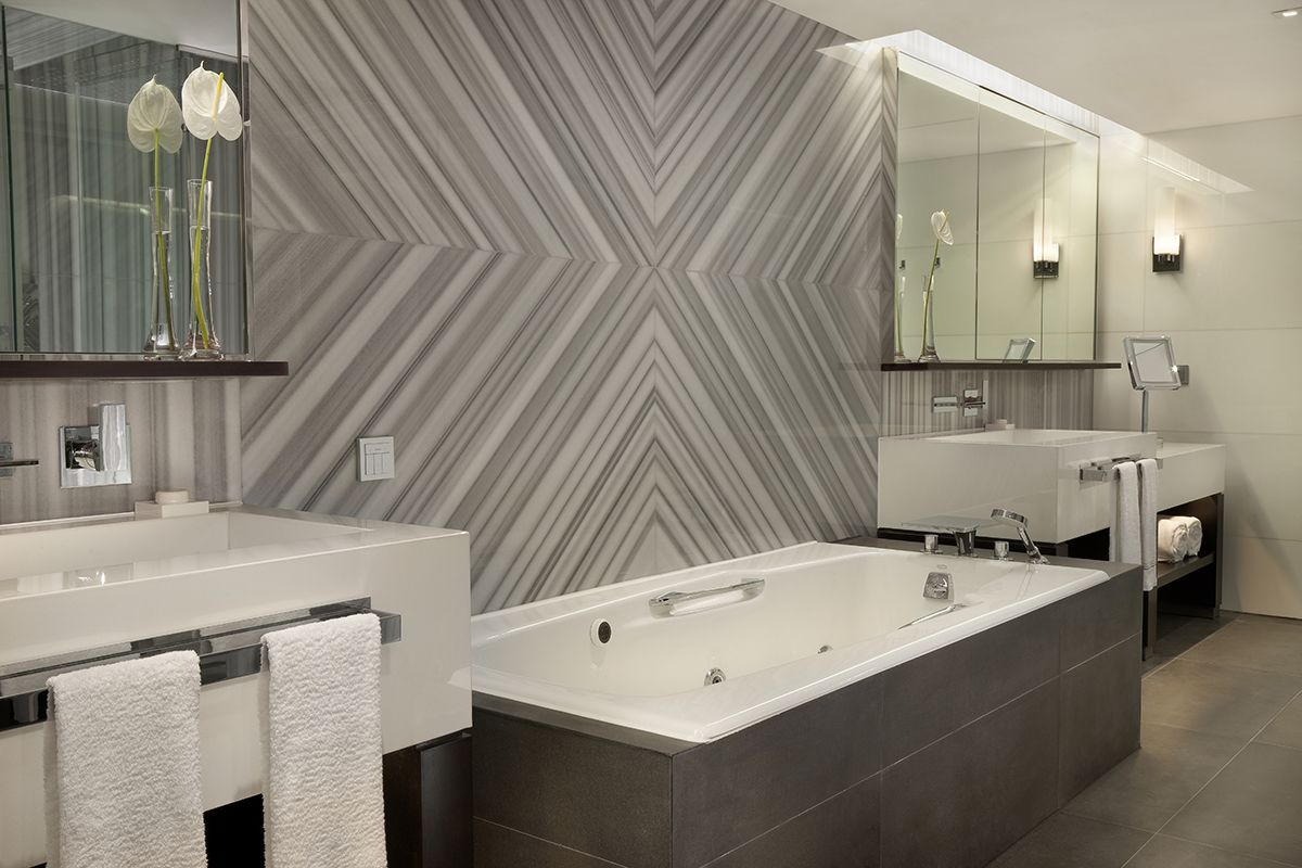 Custom Bathroom Designs -  bathroom design idea with rectangular bathtub and unique