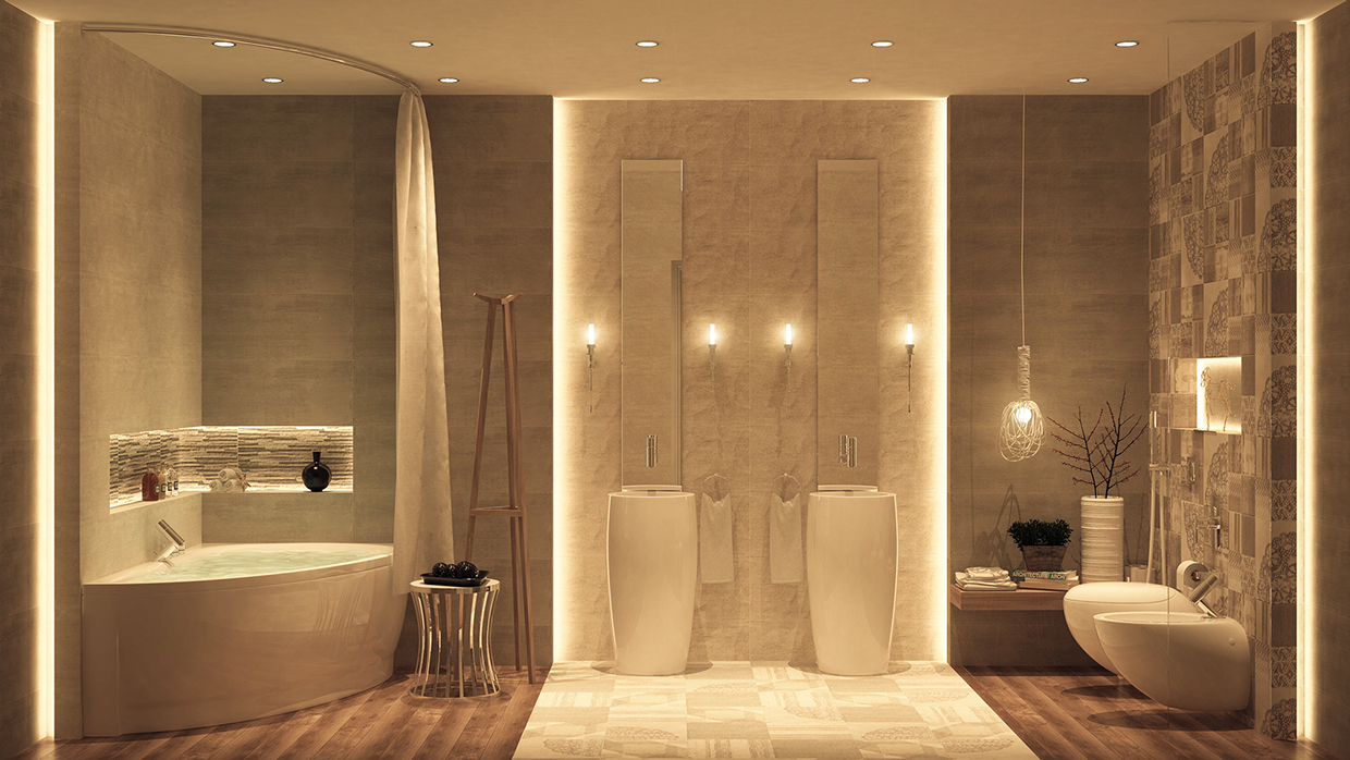 Bathroom-Solutions-Brown-Wall-Tiles-And-Laminate-Wood-Flooring-And-Corner-Bathtub-Also-Two-Freestanding-Sink-And-Tall-Mirrors-Also-Unique-Pendant-Lamp-And-Flush-Toilet