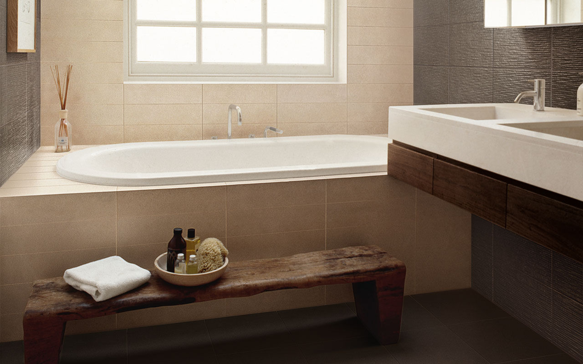 Beautiful-Bathtub-under-Glass-Window-near-White-Bathroom-Vanity-and-Ceramic-Wall-Tiles-Texture-on-Modern-Home-Picture