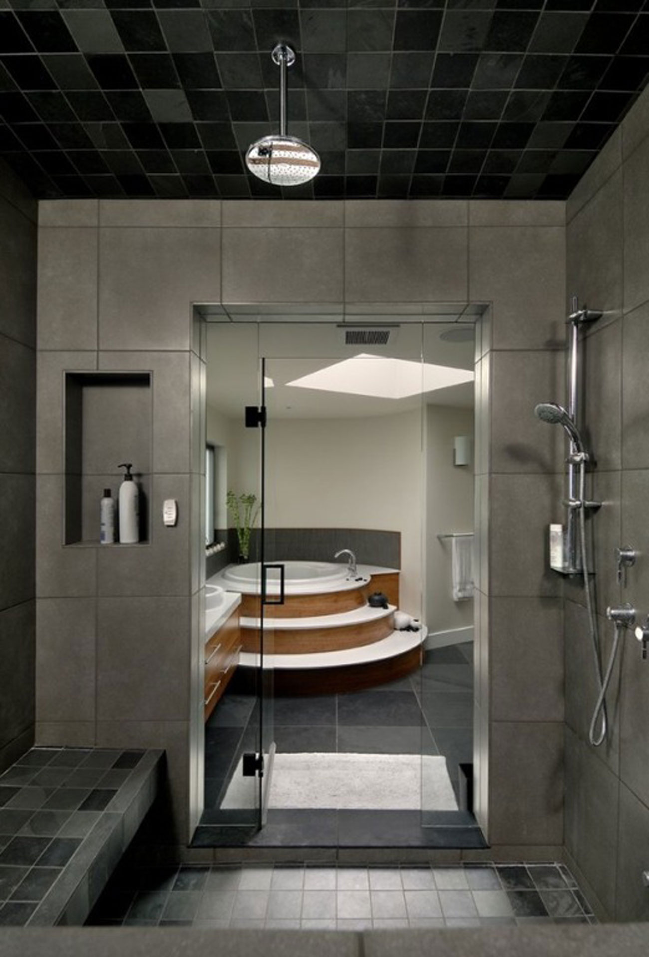 Best Bathroom Small Bathroom Design Idea With Dark Tiled Ceiling