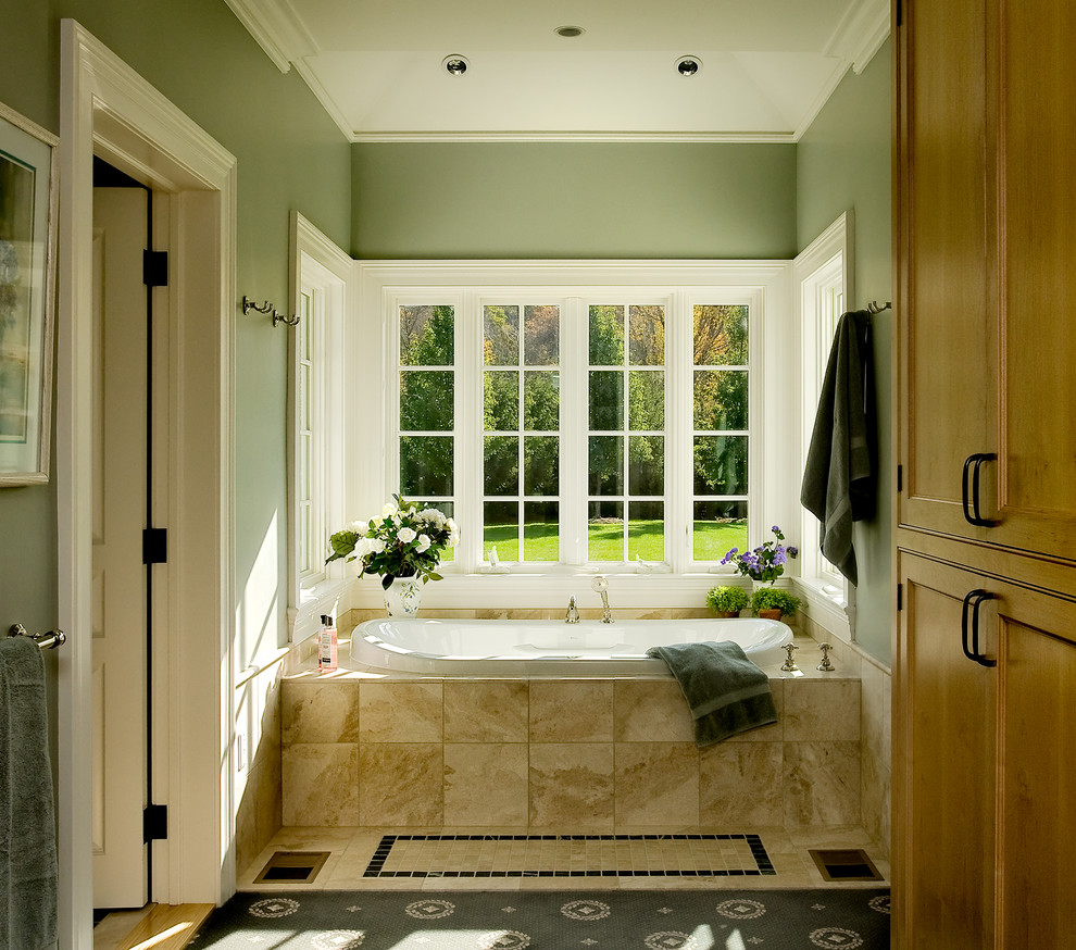 Bright-Sage-Green-Paint-look-New-York-Traditional-Bathroom-Decorators-with-bult-in-bath-tub-marble-tile-country-home-farmhouse-large-bathtub-window-master-bathroom-tile