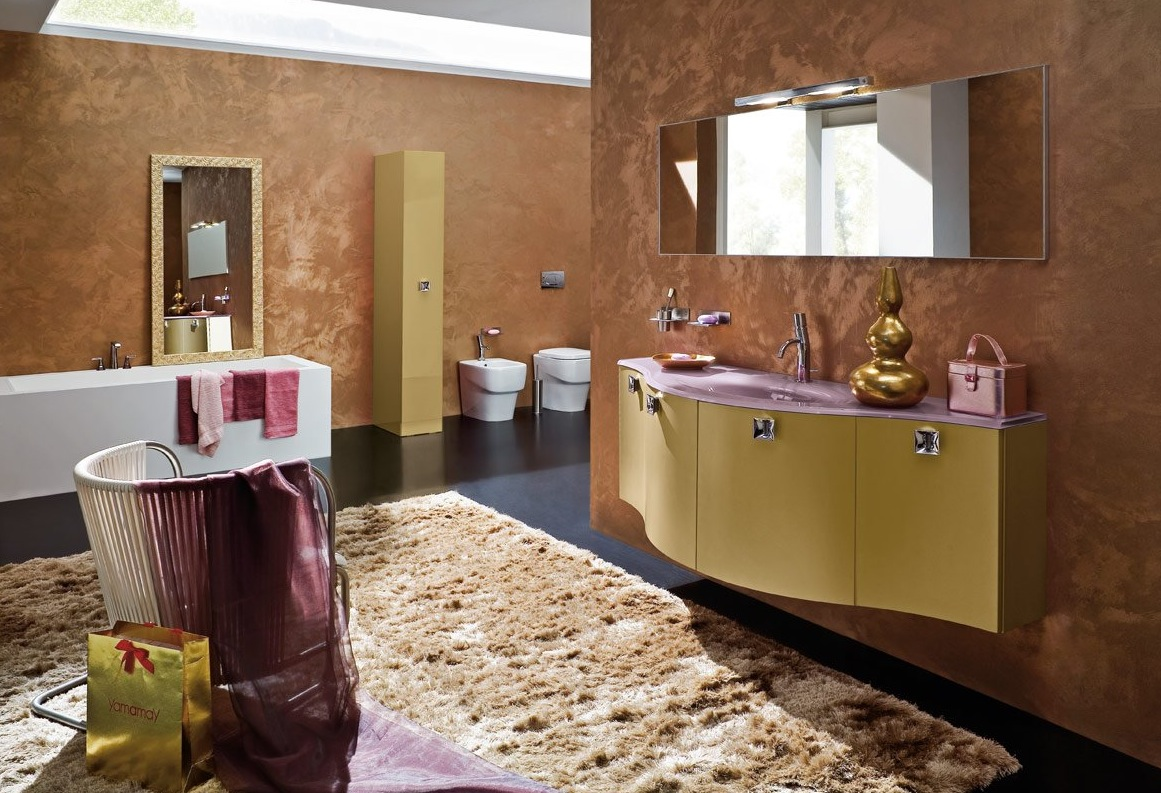 Classy-Italian-Bathroom-With-Brown-Granite-Wall-Tile-And-Natural-Bear-for-Luxury-Bathroom-Carpet-With-Beauty-Interior-Ideas
