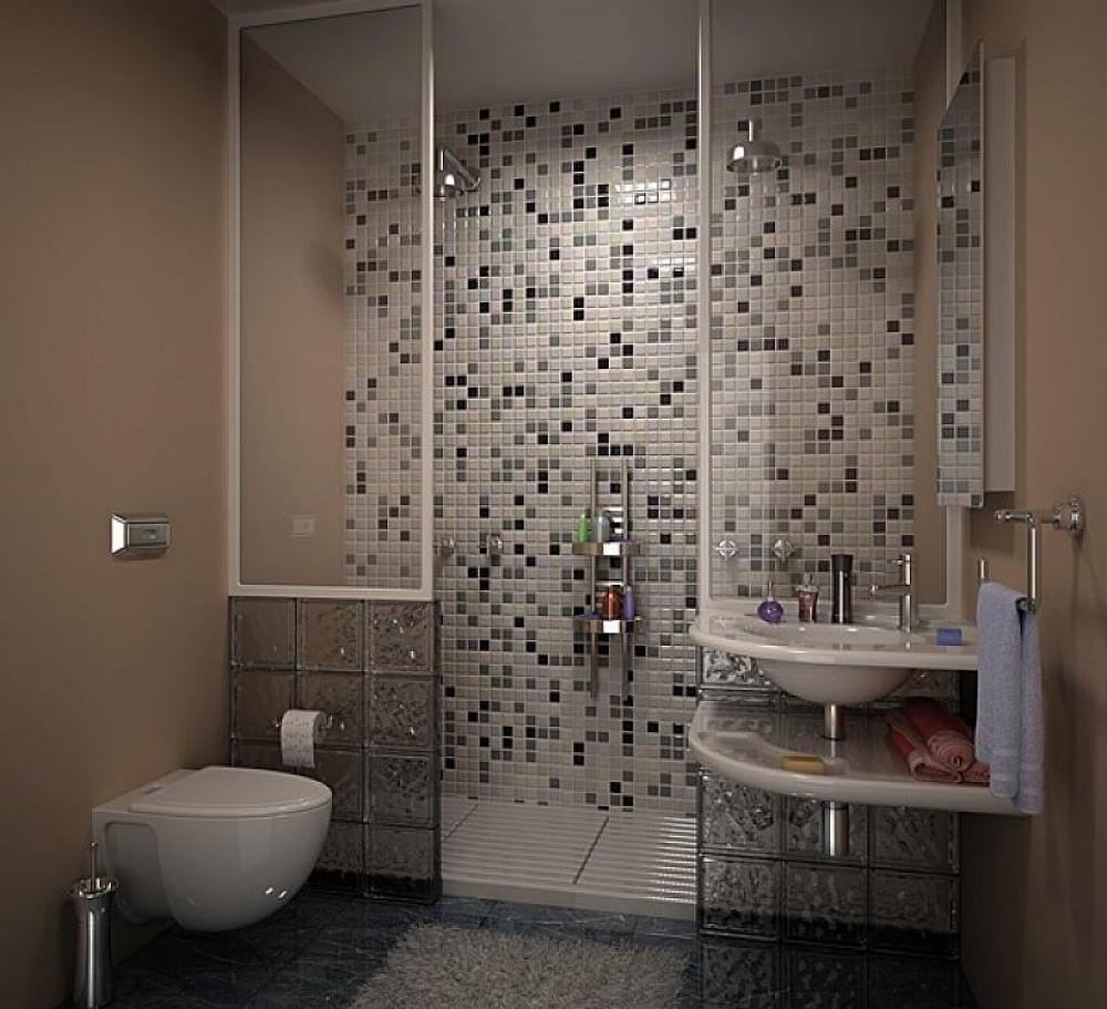 Contemporary-Bathroom-Vanity-in-Small-Shape-using-Porcelain-Washbasin-beside-White-Toilet-Sink-and-Glass-Shower-Room-with-Grey-Bathroom-Mosaic-Design