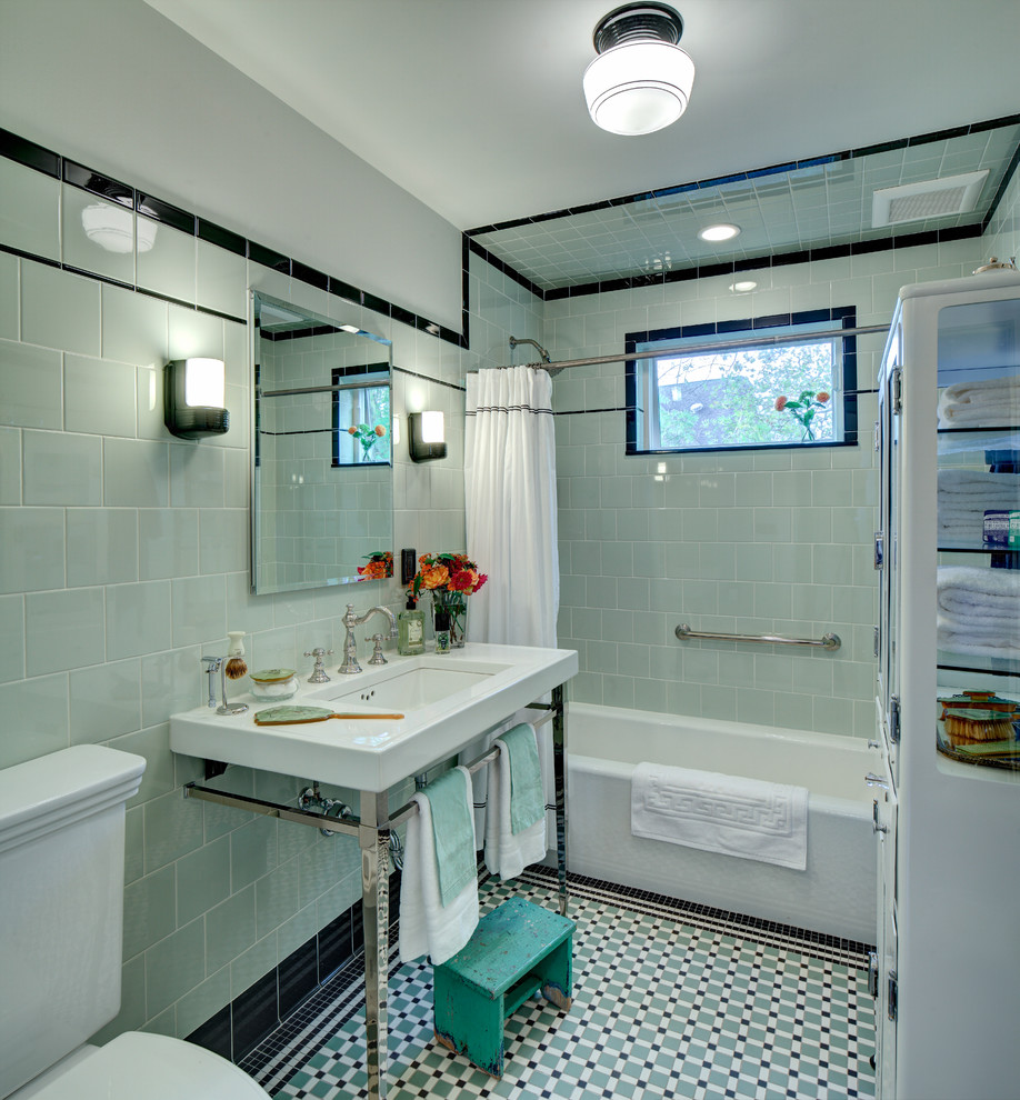 Marvelous-American-Olean-mode-New-York-Craftsman-Bathroom-Inspiration-with-black-tile-console-sink-custom-historical-floor-tile-defogging-medicine-cabinet-green-tile-kohler