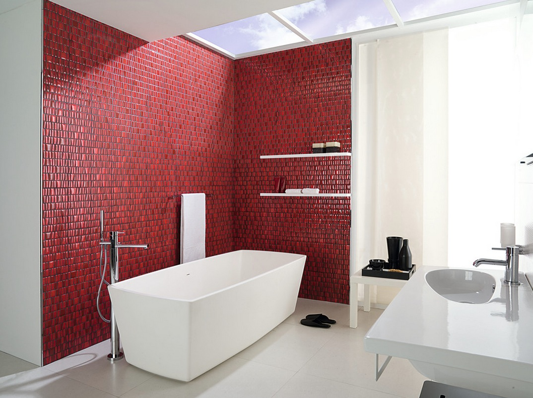 Red-Wall-Tiles-Mosaic-Decorating-For-Bathroom-Ideas-with-Modern-Bath-Design-and-White-Floor-Tile-Decoration