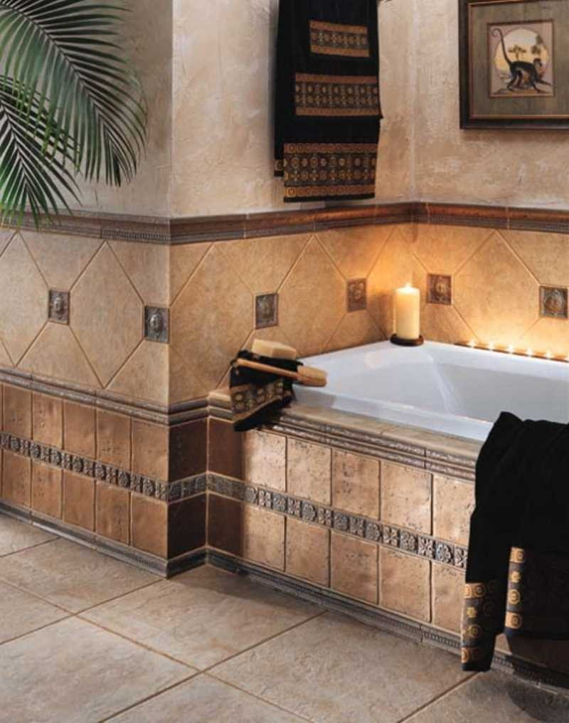 30 cool ideas and pictures of farmhouse bathroom tile for Decorative bathroom wall tile designs