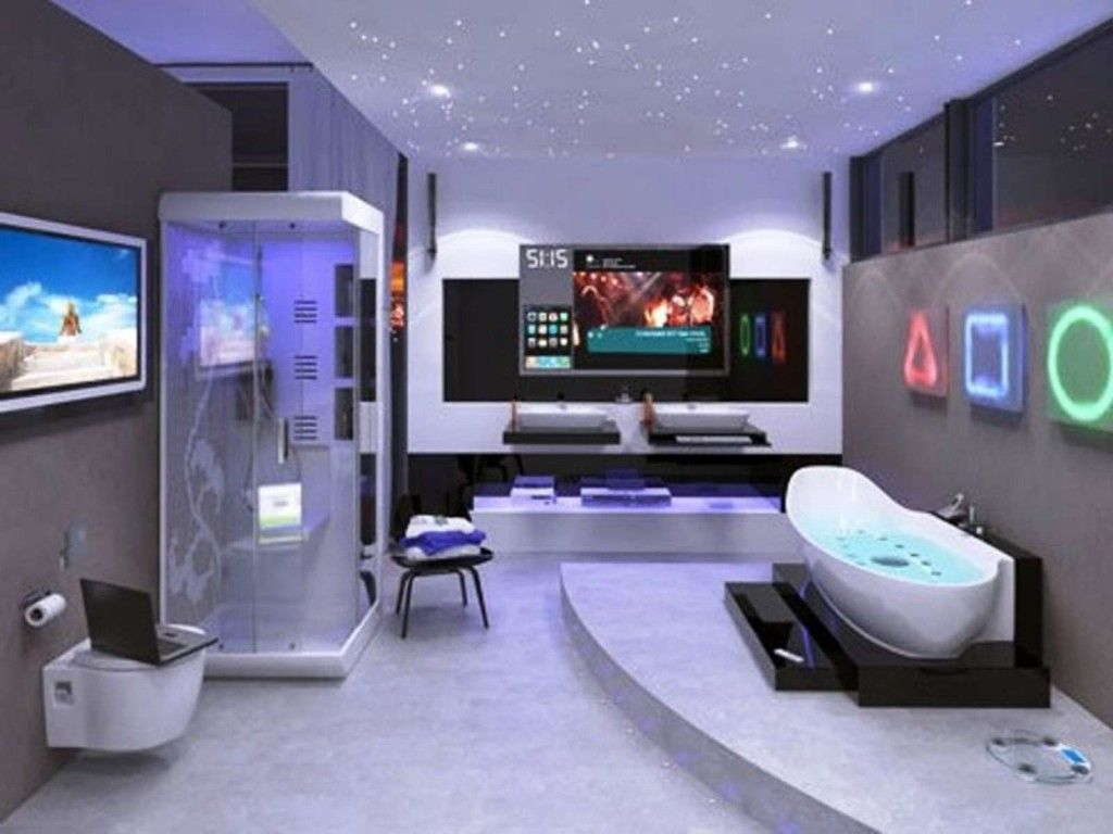 amazing-sci-fi-bathroom-design-with-high-end-lcd-tv-idea