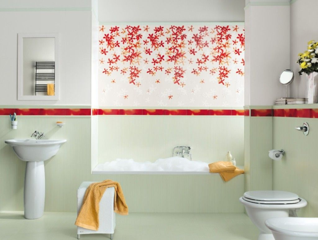 ... Awesome And Colorfulflower Bathroom Tiles Design Ideas