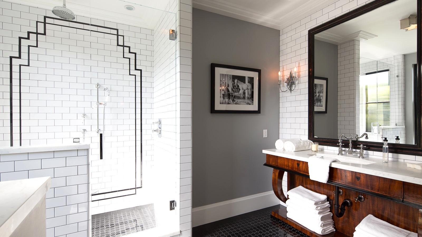 bath shower black white gray wood vanity