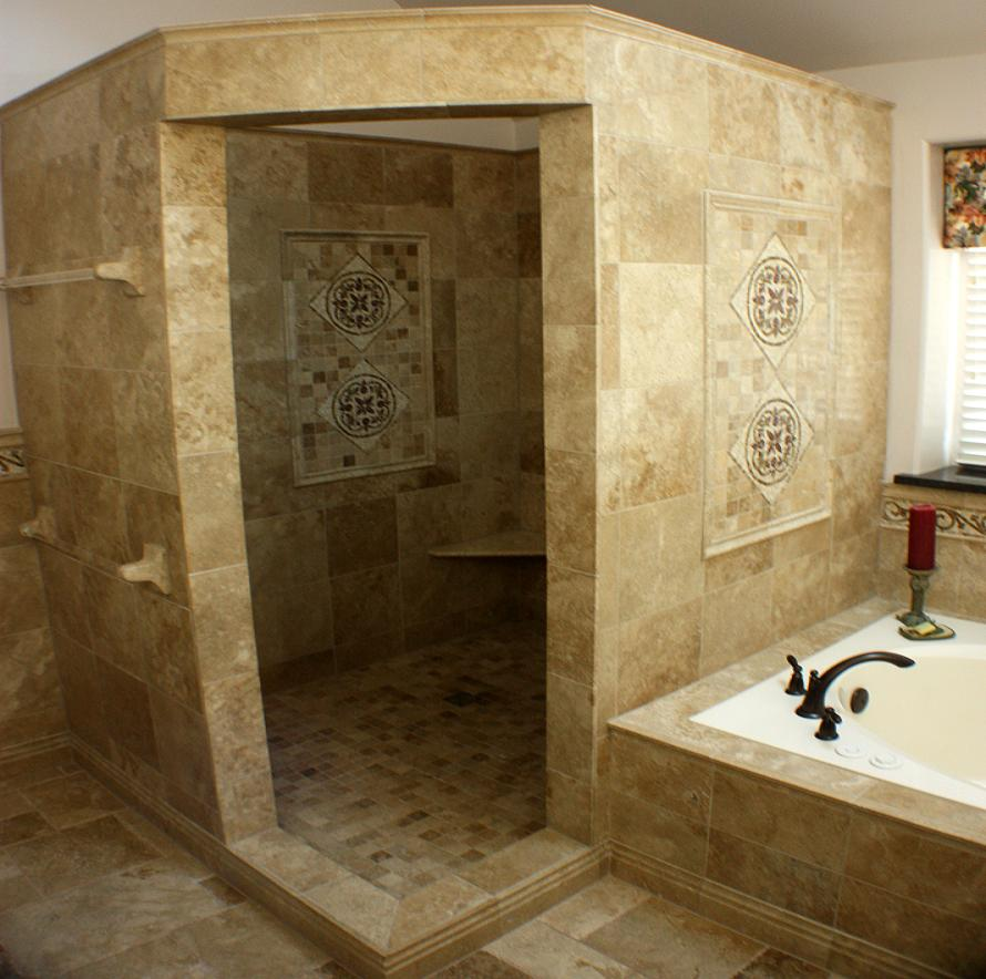 bathroom-bathroom-remodeling-idea-with-doorless-cornered-shower-stall-designed-with-brown-tile-wall-and-floor-combine-with-white-bathtub-and-black-faucet-bathroom-shower-stall-tile-designs