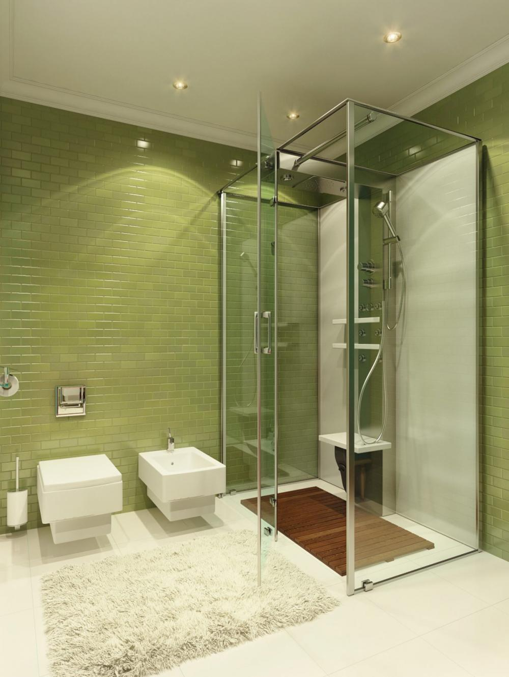 bathroom-captovating-barhroom-design-with-green-tile-bathroom-design-using-glass-shower-room-wall-nice-overhead-small-lamps-cool-square-white-sinks-artistic-and-cool-shower-designs-with-glass-tiles