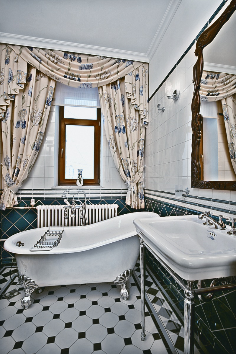 bathroom-classy-art-deco-bathroom-decor-idea-also-white-bathtub-cream-curtain-also-blue-motive-also-gray-floor-tile-lavish-art-deco-bathroom-decor-ideas