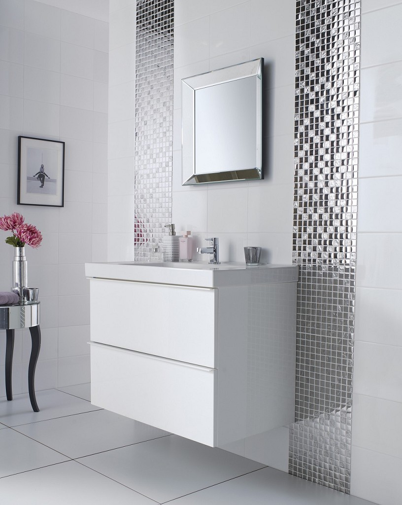 bathroom-cool-bathroom-design-ideas-with-nice-mosaic-tile-wall-plus-white-vanity-and-mirror-combine-with-small-table-with-flowers-also-white-tile-flooring-large-mirror-tiles-for-walls