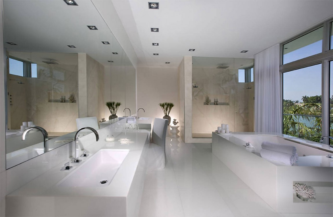 bathroom-fabulous-modern-bathroom-design-and-decoration-using-curved-steel-bathroom-sink-faucet-including-white-ceramic-bathtub-surround-and-tumbled-marble-tile-shower-wall-elegant-bathroom-design-an